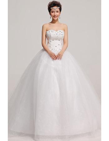 Strapless Ball Gown Floor Length Taffeta Dresses for Winter Wedding