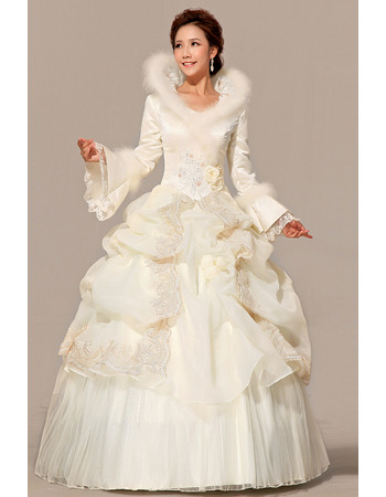 Discount Long Sleeves Satin Ball Gown Long Wedding Dresses for Winter