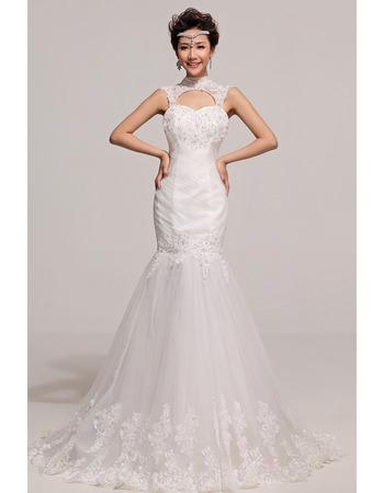 Sexy Mermaid High-Neck Sweep Train Satin Organza Wedding Dresses
