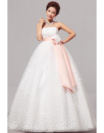 Empire Strapless Floor Length Organza Dresses for Spring Wedding