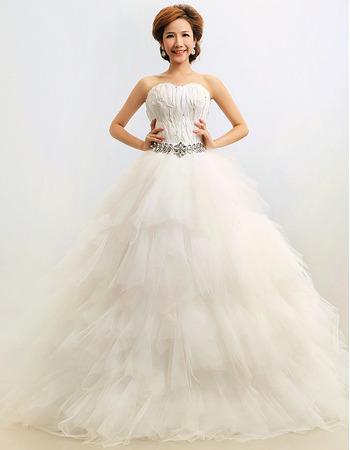 Custom Feather Ruffle Ball Gown Sweetheart Floor Length Wedding Dresses