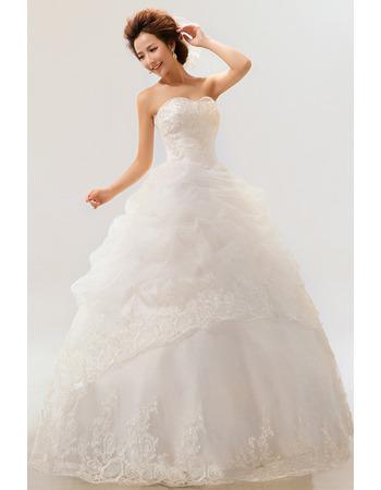 Elegant Organza Ball Gown Sweetheart Floor Length Wedding Dresses