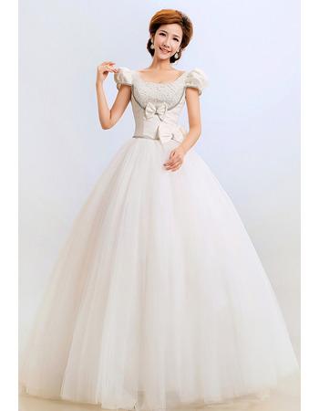 Cap Sleeves Ball Gown Floor Length Satin Wedding Dresses for Winter