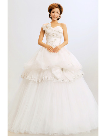 Affordable Elegant Ball Gown Sweetheart Long Organza Wedding Dresses