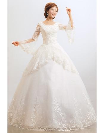 Elegant Lace Long Sleeves Ball Gown Floor Length Wedding Dresses