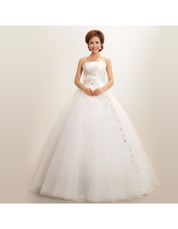 Ball Gown Strapless Floor Length Organza Dresses for Winter Wedding