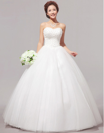 Custom Beaded Ball Gown Sweetheart Floor Length Organza Wedding Dresses