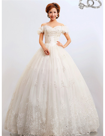 Discount Off-the-shoulder Ball Gown Floor Length Organza Wedding Dresses