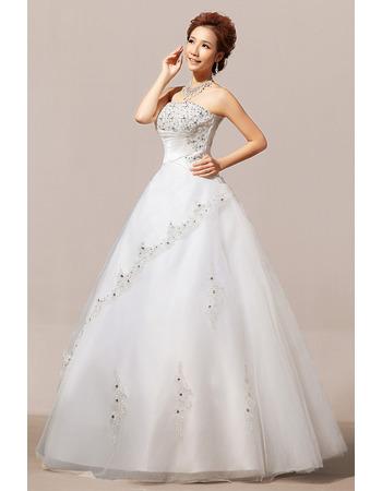 Elegant Beaded Ball Gown Strapless Floor Length Organza Wedding Dresses