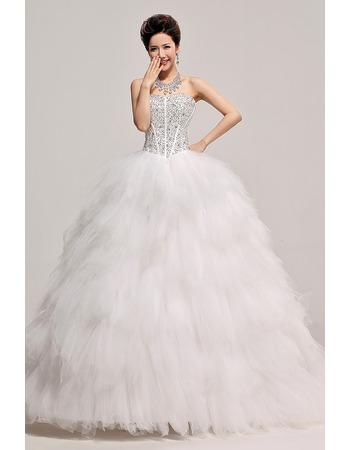 Inexpensive Beaded Ruffle Ball Gown Sweetheart Organza Wedding Dresses