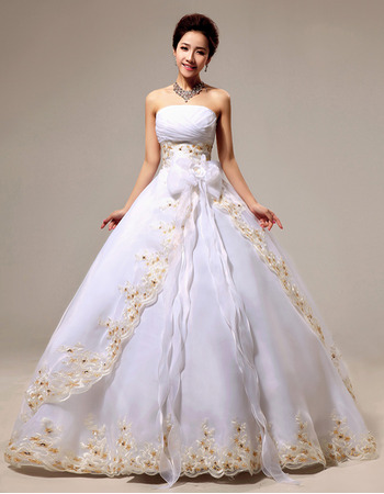 Organza Ball Gown Strapless Floor Length Wedding Dresses for Spring