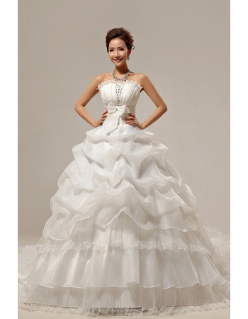 Chapel Train Ball Gown Strapless Organza Dresses for Spring Wedding