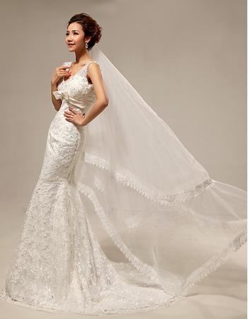 Custom Elegant Mermaid/ Trumpet Lace V-Neck Sweep Train Wedding Dresses