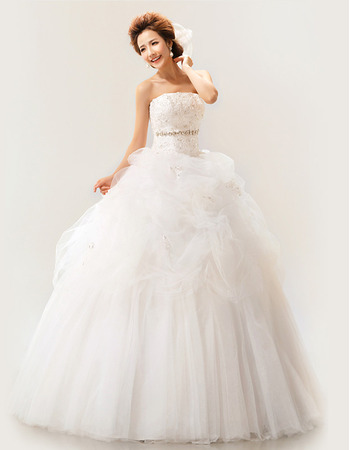 Discount Strapless Organza Ball Gown Floor Length Wedding Dresses