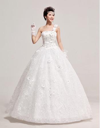 Custom One Shoulder Organza Ball Gown Floor Length Wedding Dresses