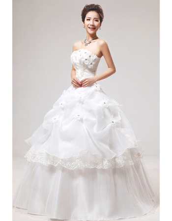 Inexpensive Applique Ball Gown Strapless Floor Length Wedding Dresses