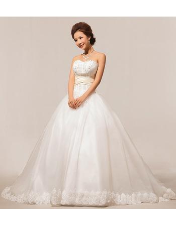 Elegant Sweetheart Court Train Beaded Ball Gown Satin Wedding Dresses