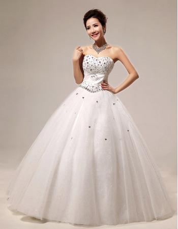 Rhinestone Ball Gown Sweetheart Floor Length Satin Dresses for Spring Wedding