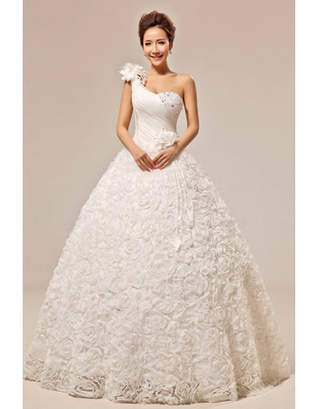 Custom One Shoulder Floral Ball Gown Floor Length Satin Wedding Dresses