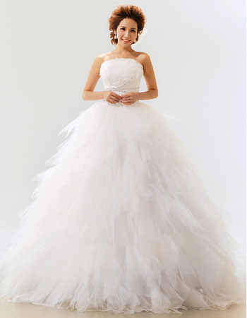 Elegant Ruffle Organza Ball Gown Strapless Floor Length Wedding Dresses