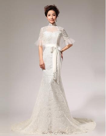 Discount Mermaid Lace Mandarin Collar Short Sleeves Wedding Dresses