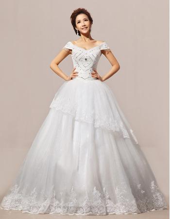 Elegant Off-the-shoulder Ball Gown Floor Length Organza Wedding Dresses