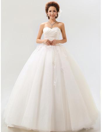 Ball Gown Sweetheart Floor Length Satin Dresses for Spring Wedding