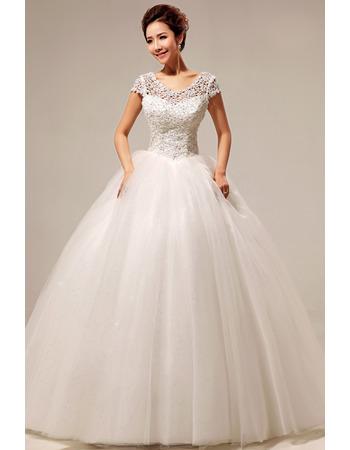 Custom Lace Short Sleeves Ball Gown Floor Length Wedding Dresses