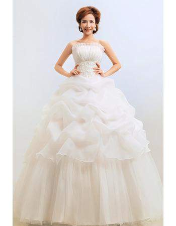 Discount Ball Gown Strapless Floor Length Organza Wedding Dresses