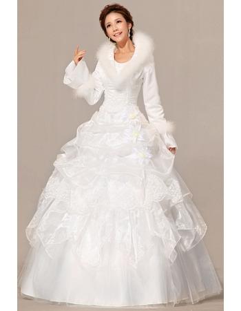 Long Sleeves Satin Ball Gown Floor Length Dresses for Winter Wedding