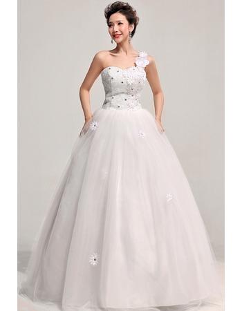 One Shoulder Ball Gown Floor Length Satin Dresses for Spring Wedding