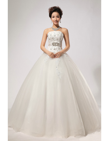 Custom Rhinestone Ball Gown Strapless Floor Length Satin Wedding Dresses