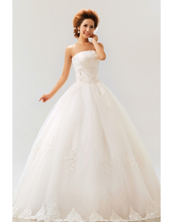 Inexpensive Ball Gown Strapless Floor Length Organza Wedding Dresses