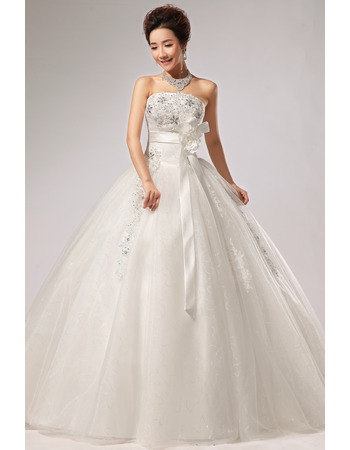 Elegant Ball Gown Strapless Floor Length Wedding Dresses with Sashes