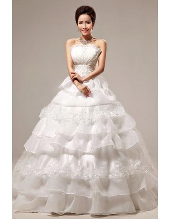 Custom Tiered Skirt Ball Gown Strapless Floor Length Wedding Dresses