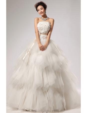 Elegant Tiered Organza A-Line Strapless Floor Length Wedding Dresses