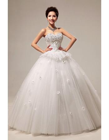 Beaded Sweetheart Ball Gown Floor Length Satin Dresses for Spring Wedding
