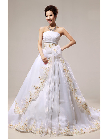 Affordable A-Line Strapless Court Train Embroidery Wedding Dresses