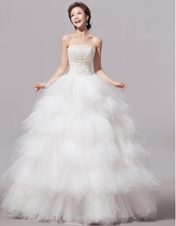 Elegant Bubble Skirt Organza Strapless Floor Length Wedding Dresses