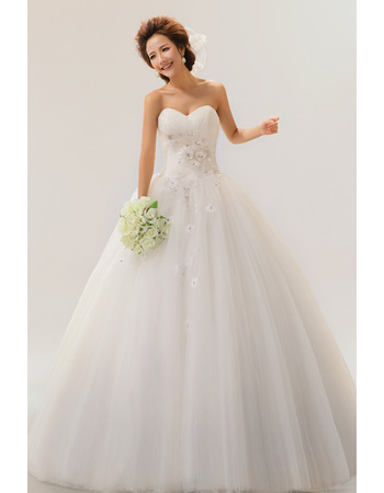 A-Line Sweetheart Long Applique Organza Dresses for Spring Wedding