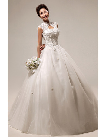 Custom Mandarin Collar Lace A-Line Floor Length Wedding Dresses