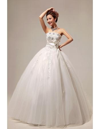 Elegant Ball Gown Strapless Floor Length Beaded Wedding Dresses