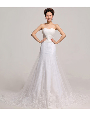 Custom Mermaid/ Trumpet Sweetheart Organza Court Train Wedding Dresses