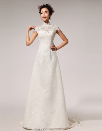 Affordablel Lace Mandarin Collar Cap Sleeves A Line Wedding Dresses