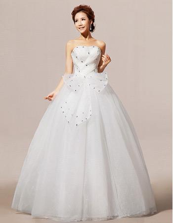 Elegant Ball Gown Strapless Floor Length Rhinestone Wedding Dresses