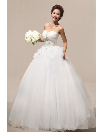 Custom Ball Gown Sweetheart Floor Length Satin Wedding Dresses
