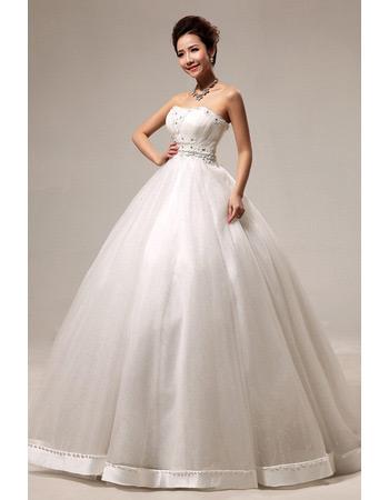 Discount Ball Gown Strapless Floor Length Satin Beaded Wedding Dresses