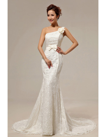 Sexy Mermaid One Shoulder Lace Sweep Train Wedding Dresses for Spring