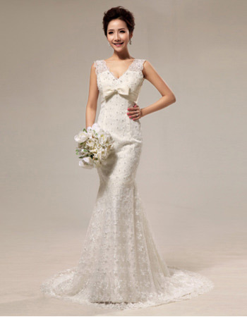 Discount Sexy Mermaid V-Neck Lace Sweep Train Wedding Dresses
