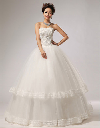 Elegant Floral Ball Gown Sweetheart Floor Length Organza Wedding Dresses